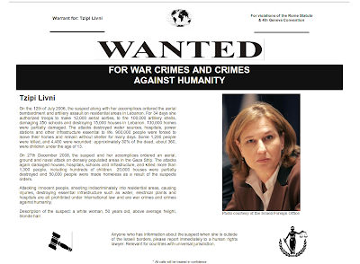Wanted! FOR WAR CRIMES AND CRIMES AGAINST HUMANITY - Tzipi Livni - Ex-Mossad Agent and Ex-Foreign Minister of the Criminal and Racist Entity known as 'Israel'