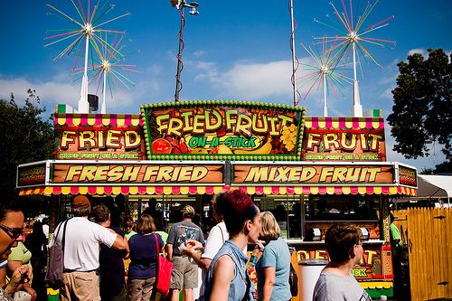minnesota state fair, fried fruit on a stick