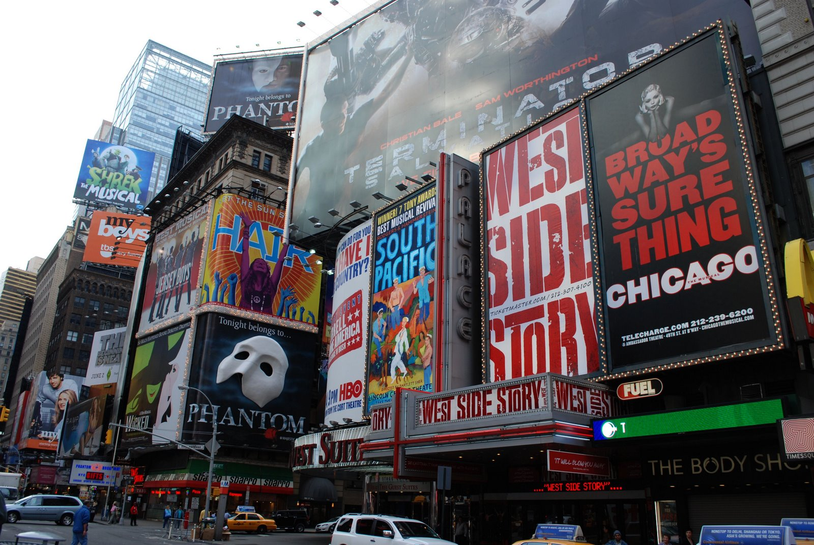 theater signs, times square, nyc