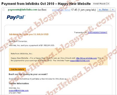 bukti pembayaran infolinks oktober 2010