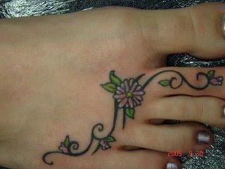 small tattoo foot green flower