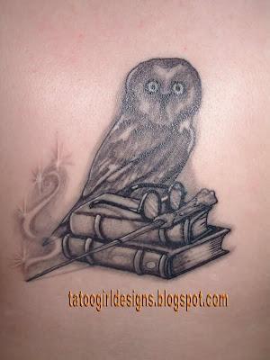 simple owl tattoo design