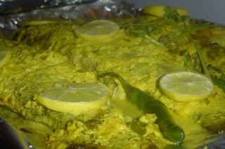 Baked Bekti with Mustard Sauce