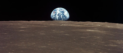 Earthrise from the command module of Apollo 8, December 24, 1968