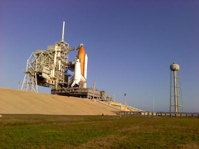 Endeavour at her launch pad, February 6, 2010