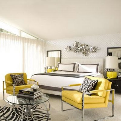 Gray and Yellow decor.