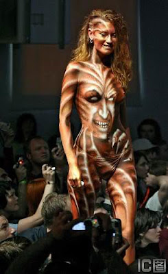 A Scary Design In Body Painting Art