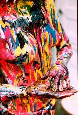 Body Art Painting With Many Colors Themed Abstract