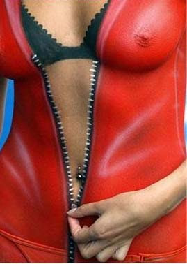 A Red Leather Jacket In Body Art Painting