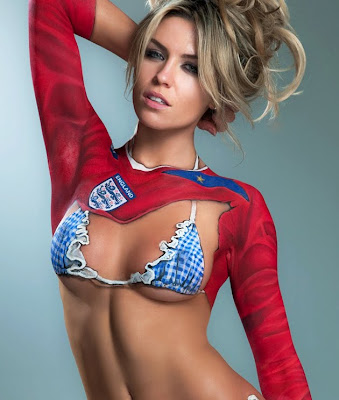 Abigail Clancy So Sexy To Supported England In World Cup 2010 With Body Art Painting