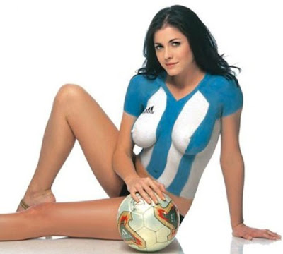 A Sexy Model With Art Body Painting For Argentina National Team