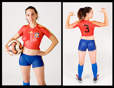 Spain Supporter Girl Ready With Body Painting Design