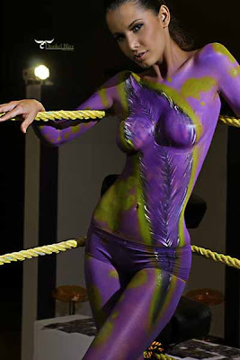Sexy Purple Colour In Body Painting Art