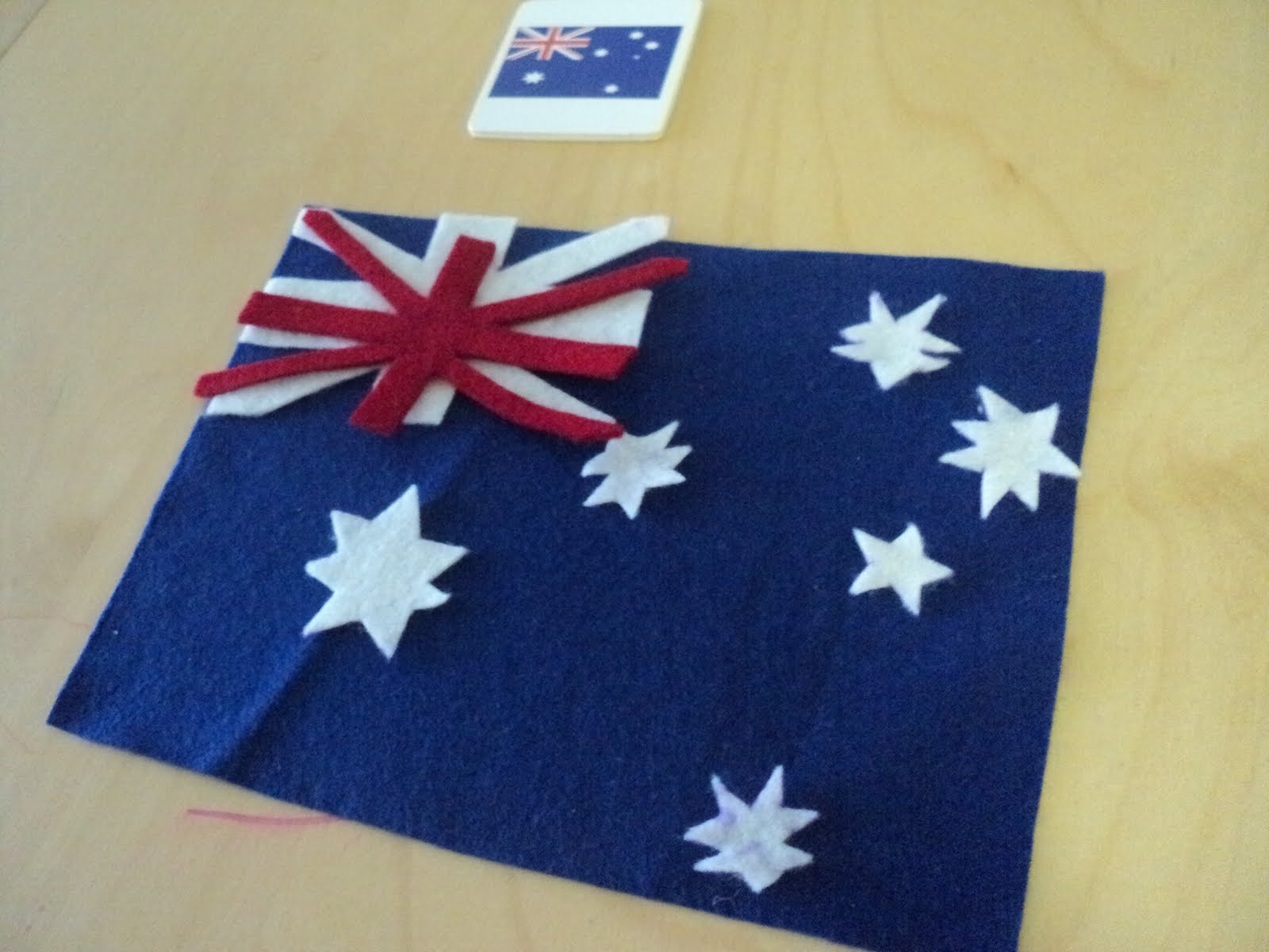 a little learning for two felt flags australia day