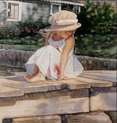 pintura+menina+ao+sol.jpg (381×400)