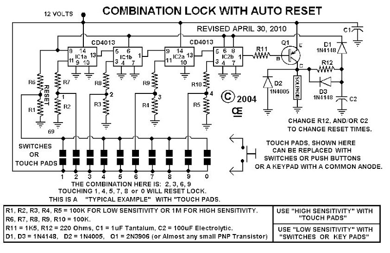 Combination Lock With Auto Reset
