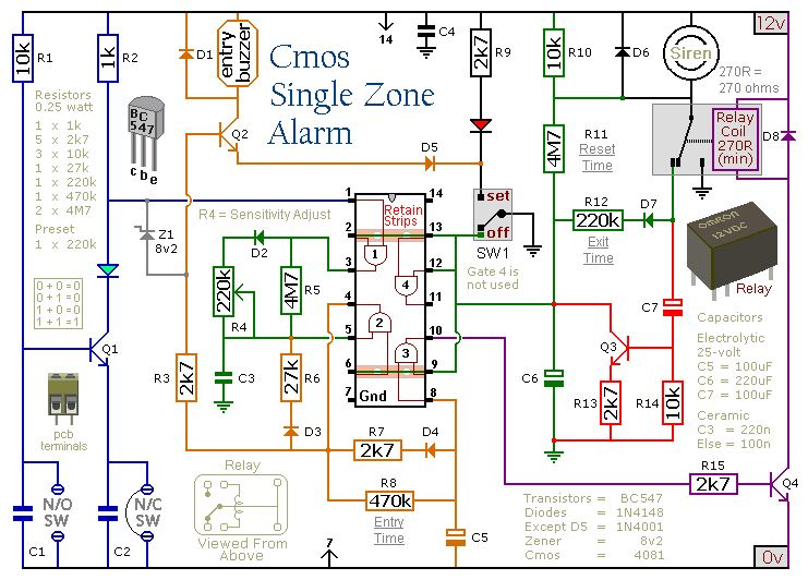 Cmos Single Zone Intruder Alarm