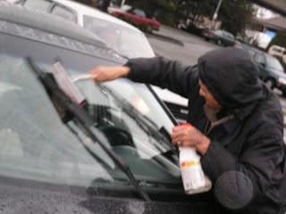 Steve squeegeeing a car