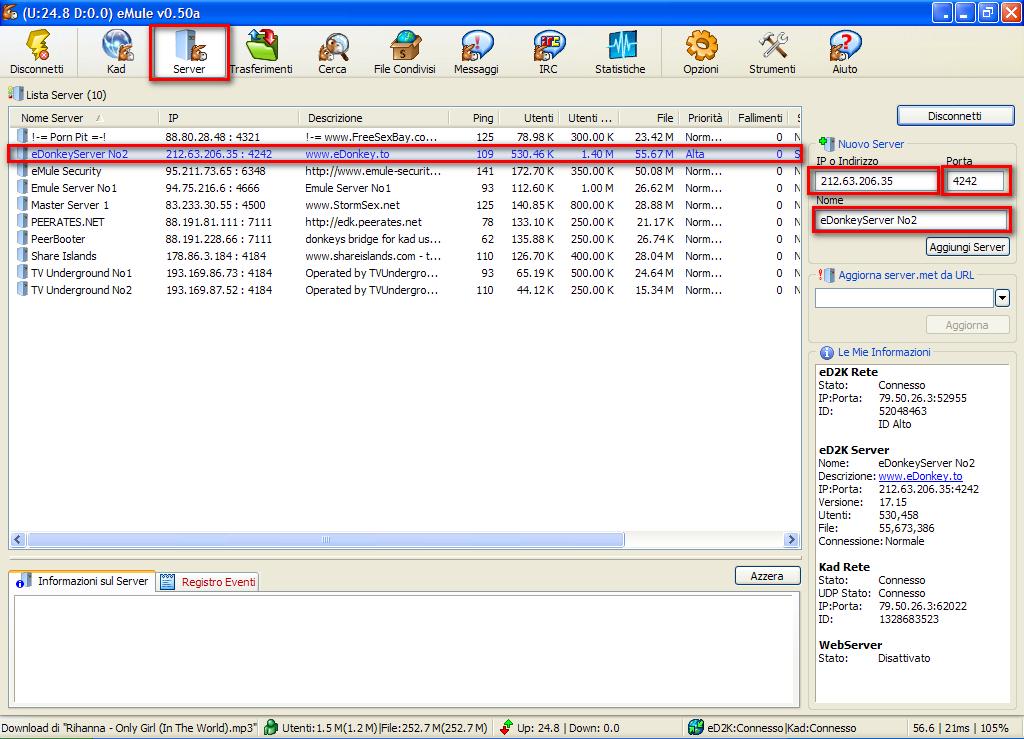 emule server list download: