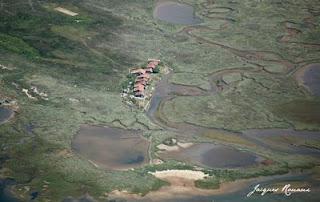 photo aérienne des cabanes sur l'ile aux oiseaux du bassin d'arcachon