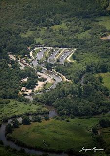 vue aerienne du port de Biganos