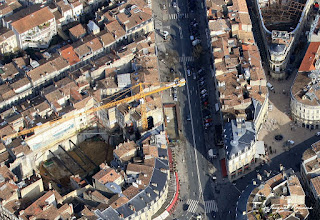 Photo aérienne du chantier sur l'emplacement de l'ancien cinéma Gaumont de Bordeaux