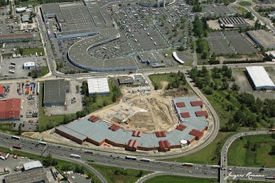 Vue aérienne parc nouveau parc d'activités (retail parkcommerciales Rives d'Arcins