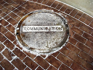 Photograph of communications manhole cover