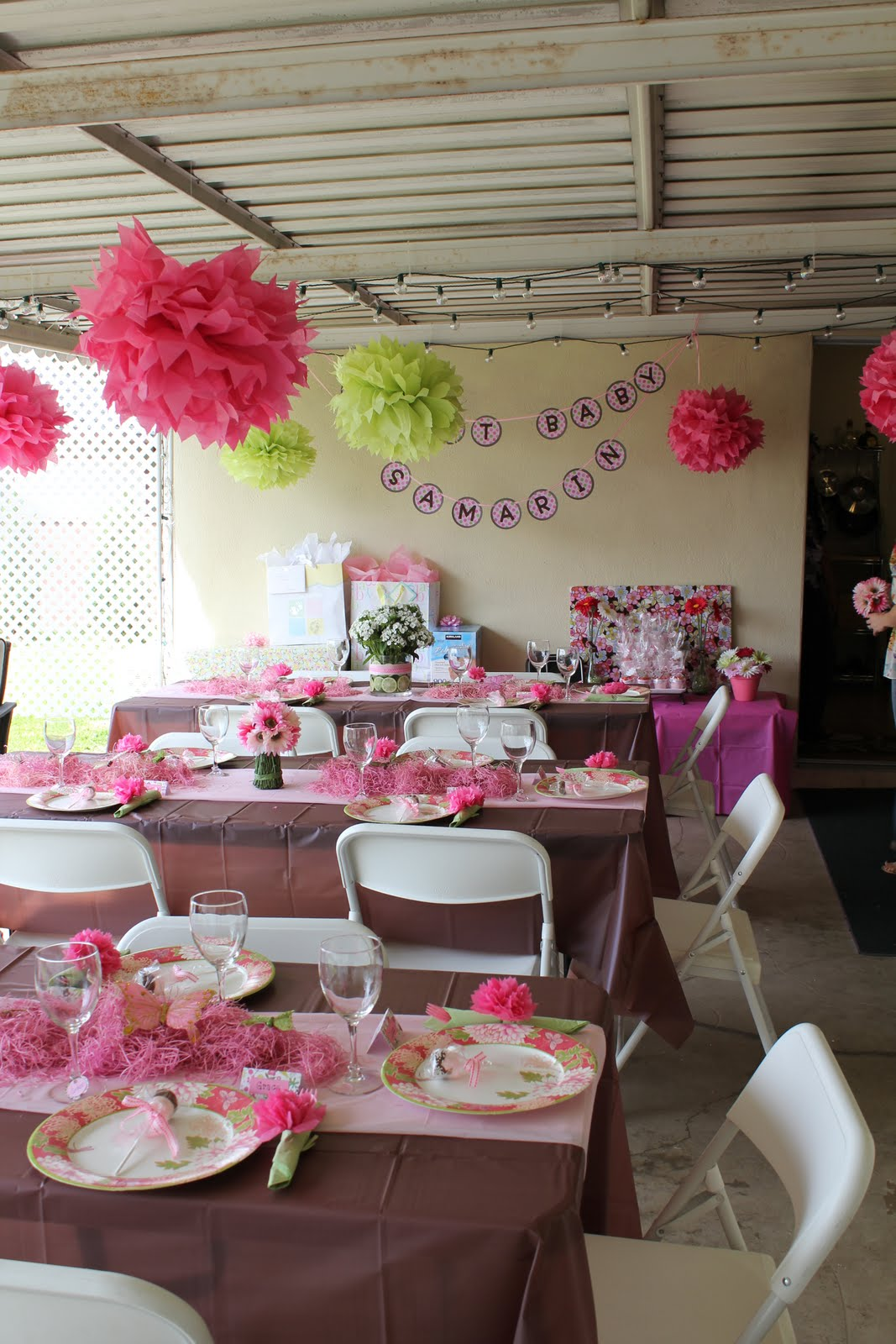 Whimsy wise events pink brown garden baby shower - Pink baby shower table decorations ...