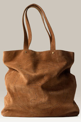 Tory Burch 'T' Perforated Suede Tote