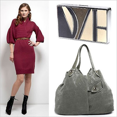 Diane Von Furstenburg Teterow Dress in Cabernet, Logo Cigarette Clutch in Brown, Wrap Bag Bold in Dark Grey