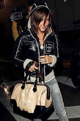 Ashley Tisdale with Stephen Monogram Embossed Cuir bag from Louis Vuitton
