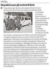 """Articolo Donazione Pulmino """"2000"""""""