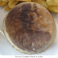 Tommy Cooper face in a pie