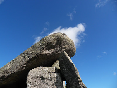 Treventhy Quoit, Cornwall on a blue sky day