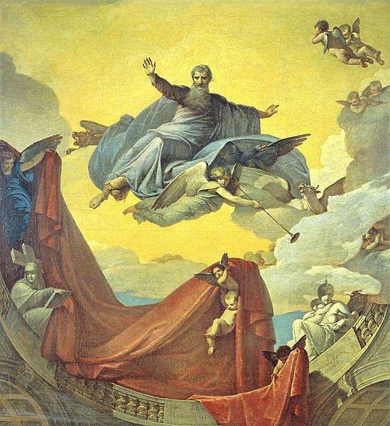 The prophet ezekiel being lifted up