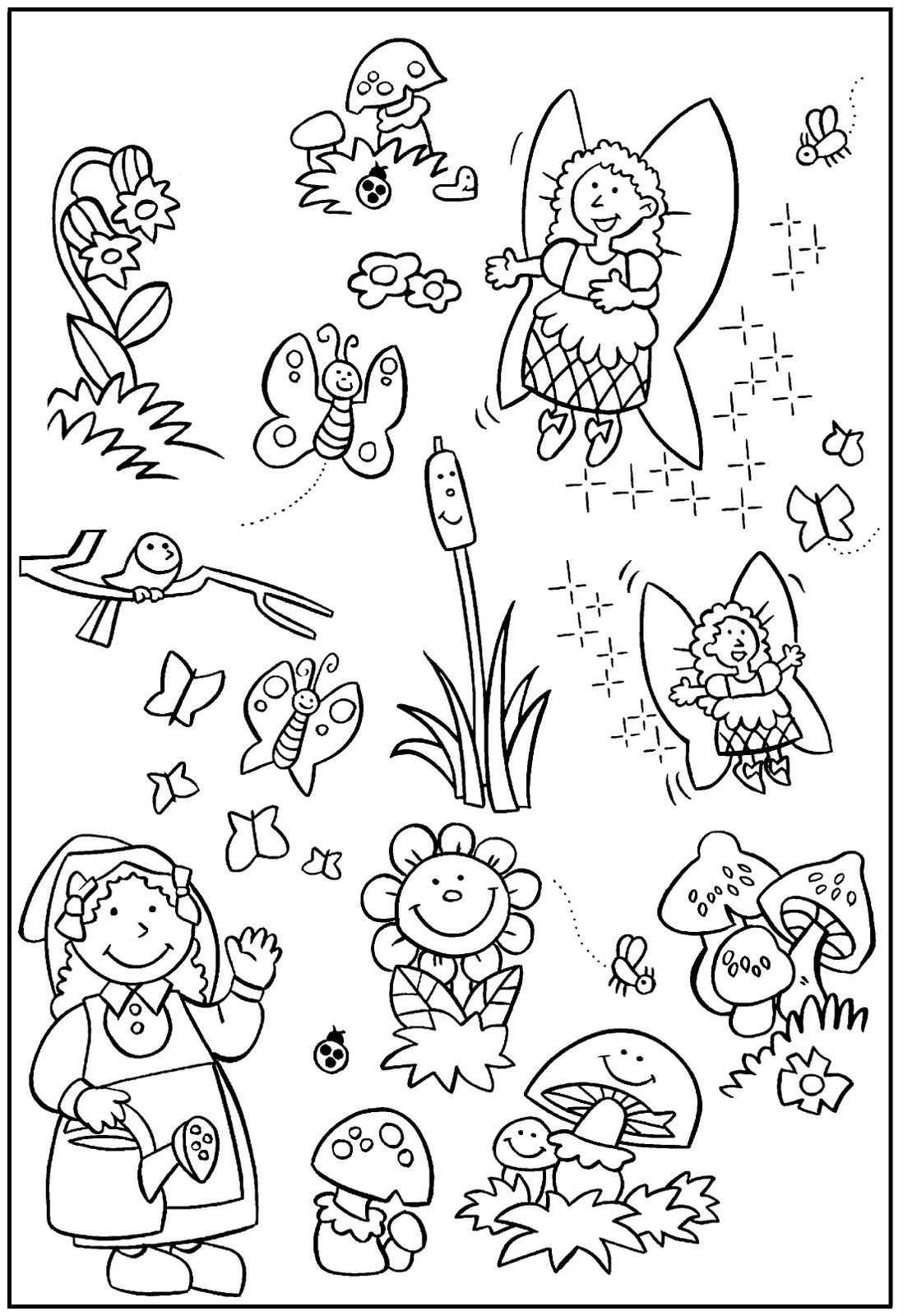 My little house anna and the flower garden coloring pages for Flower garden coloring pages printable