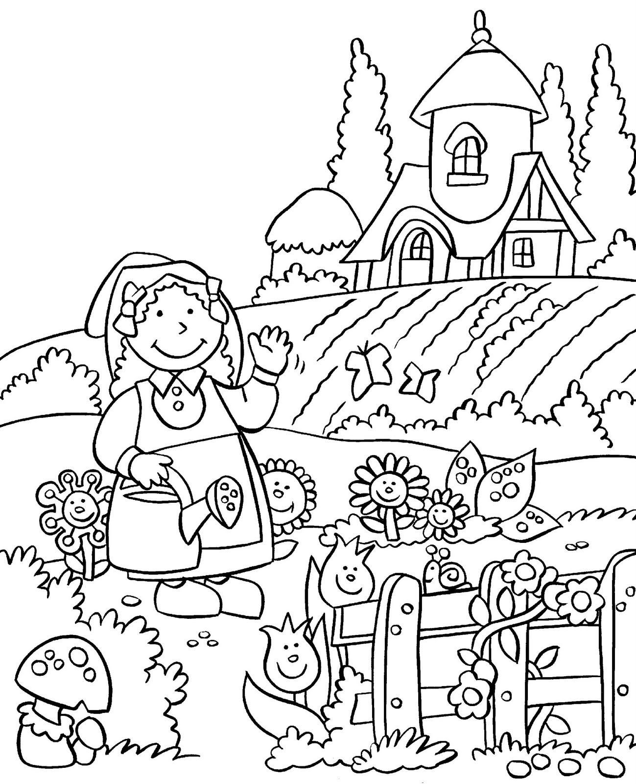 Colouring In Sheets Garden : My little house anna and the flower garden coloring pages