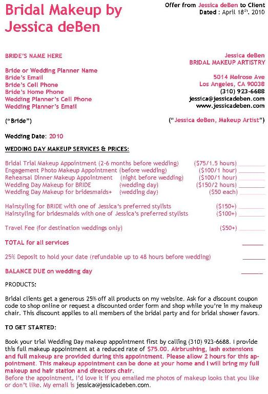 Wedding Hair And Makeup Template Free : Sample Invoice For Salon Joy Studio Design Gallery ...