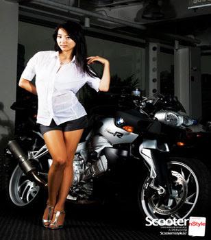 สาวสวยใส ถ่ายแบบ มอเตอร์ไซค์ Motorcycle Girl Model