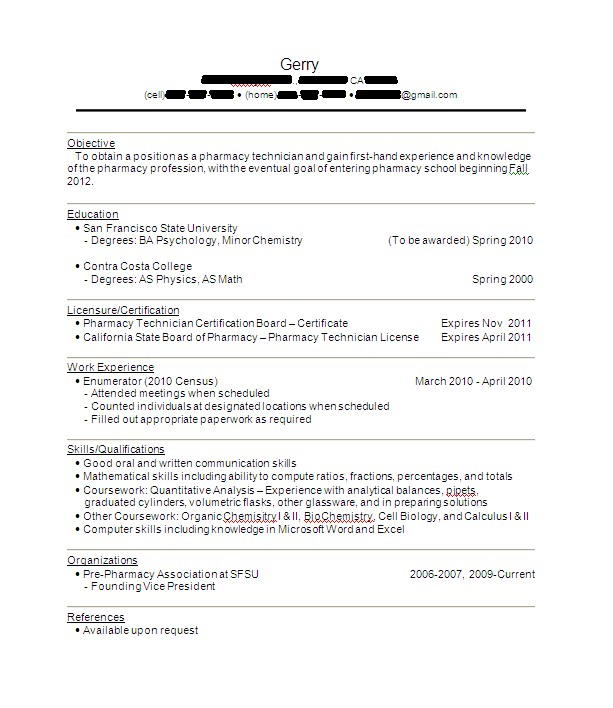 Pharmacy Tech Sample Resume