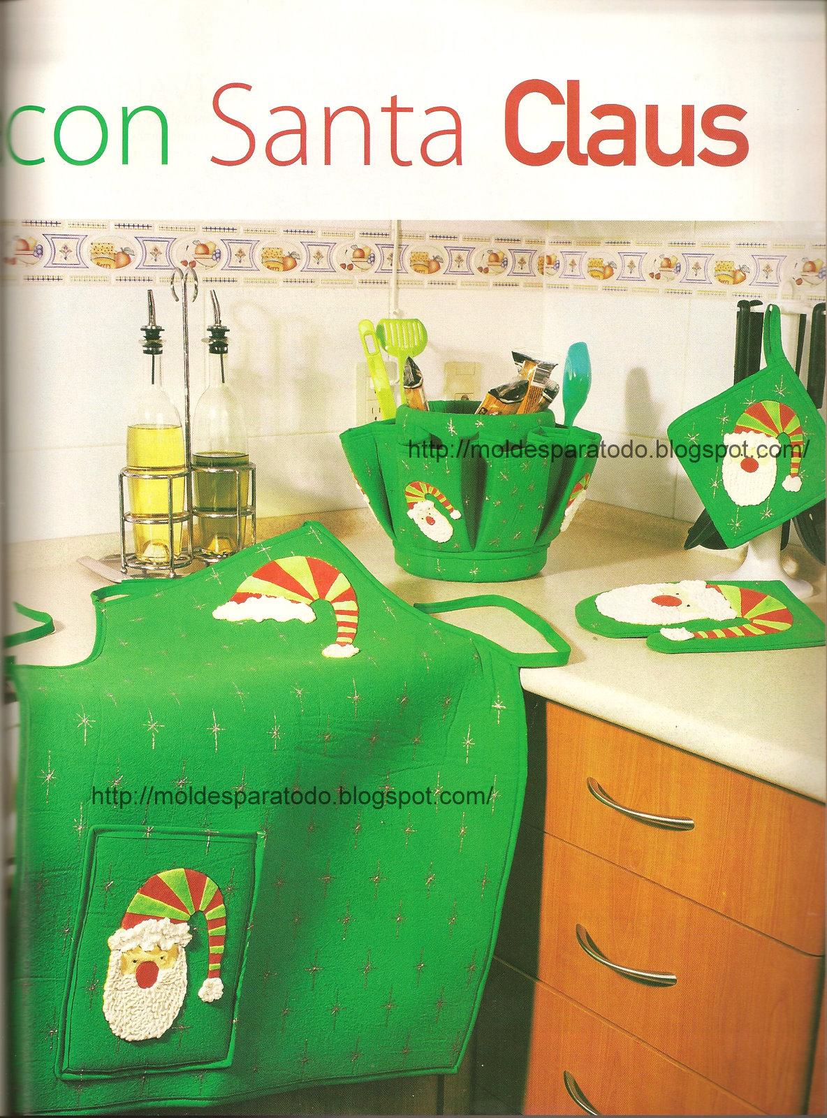 Moldes para todo juego de cocina con santa claus for Moldes de cocina