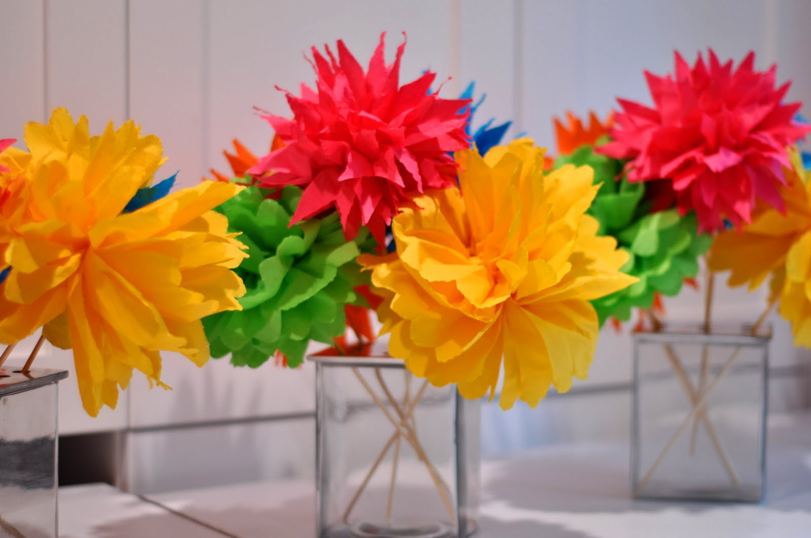 flowers made out of tissue paper