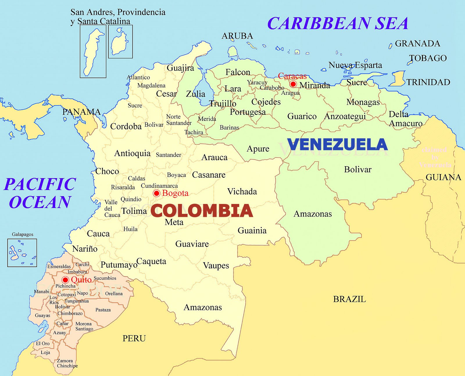 Colombia South America Cities Map