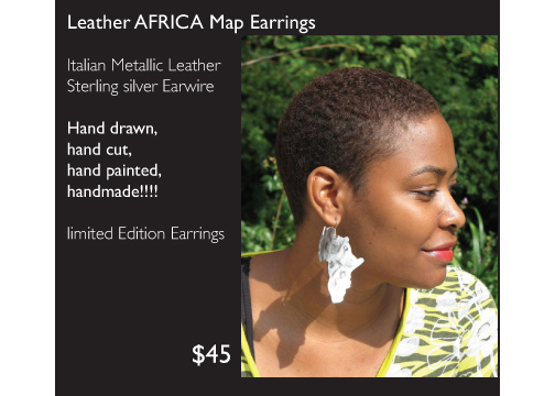 AingeelZ Jewelry and Accessories Leather Africa Map Earrings