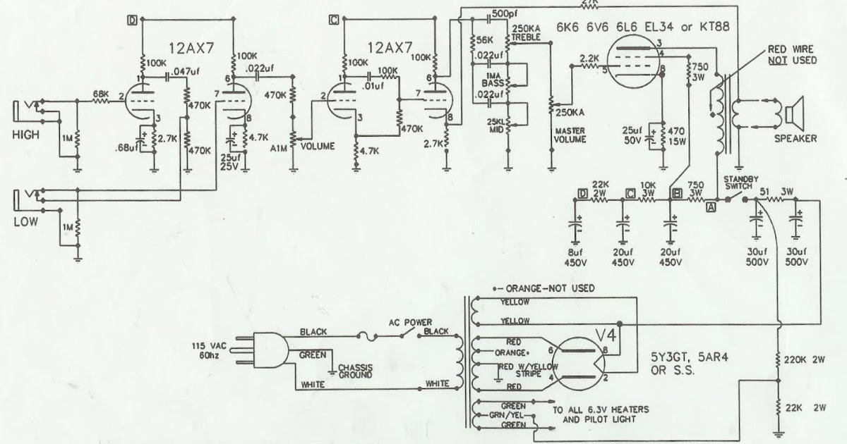 guitar amp talk  schematic for my champ to wreck mods