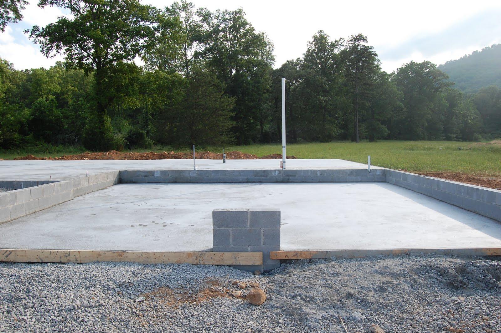 Home building project concrete slab for Garage slabs