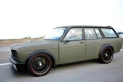 Acura  West on Datsun 510  Flat Olive Drab  With A Giant Single Turbo 2jz  Stopping