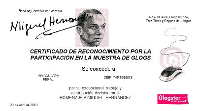 DIPLOMA AL GLOBSTER  DE MIGUEL HERNÁNDEZ