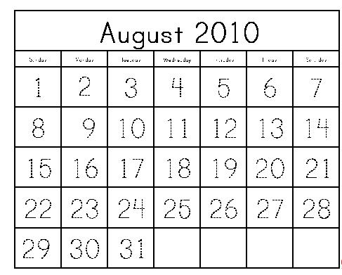 Free printable monthly calendar pages that have traceable numbers.
